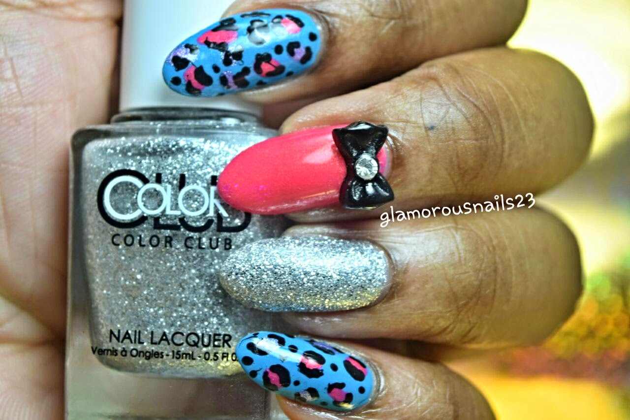 Leopard Print Mix & Match with Bow and Silver Accent Nail
