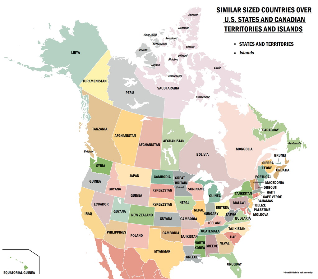 Similar sizes countries over US States and Canadian territories & islands