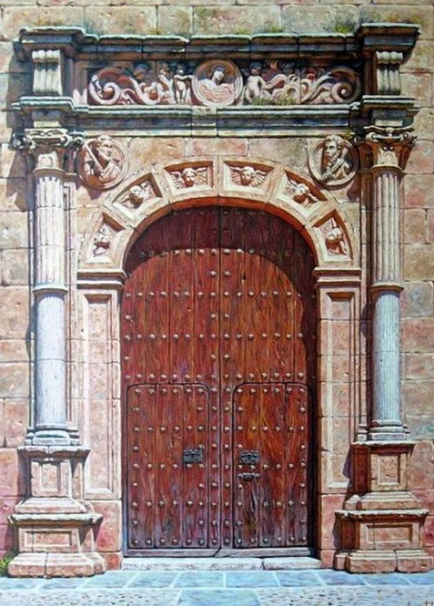 Cuadros pinturas oleos portones antiguos al leo for Porton madera antiguo
