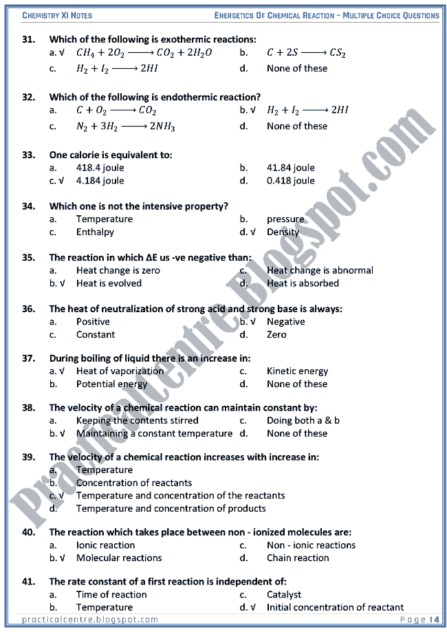 Energetics Of Chemical Reaction - MCQs - Chemistry XI