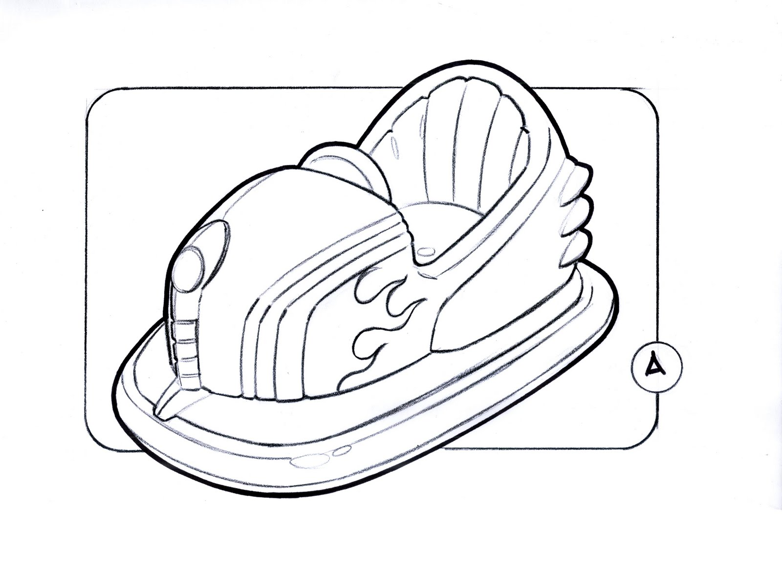 Bumper Car Coloring Pages : Image roller coaster car drawing sketch coloring page