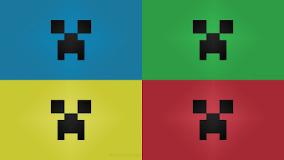 Primary colors Minecraft desktop creeper wallpaper large 3840x2160 pixels