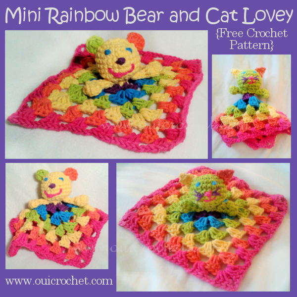Free Pattern Crochet Lovey : Oui Crochet: Mini Rainbow Bear and Cat Lovey {Free Crochet ...