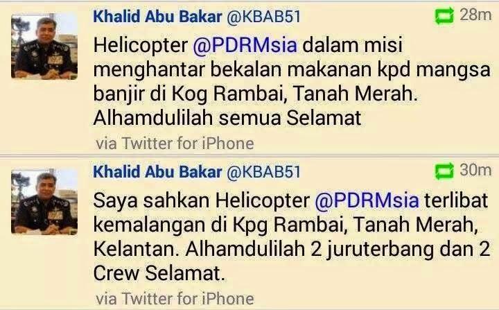 Gambar Helikopter PDRM Terhempas Di Tanah Merah Kelantan