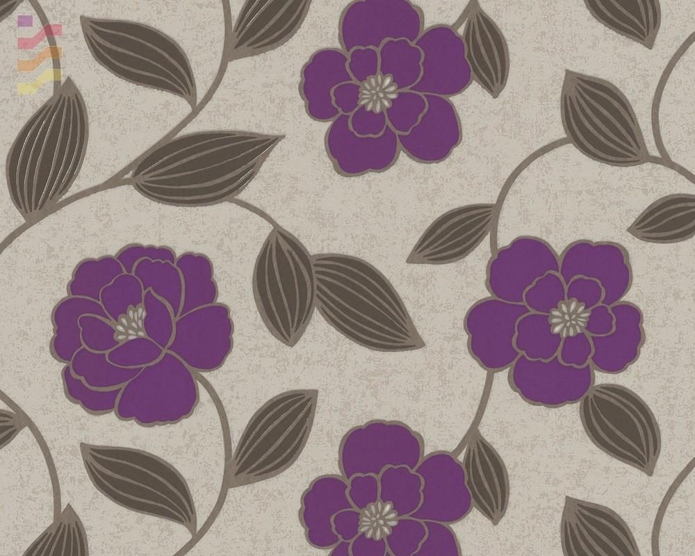 tapeta w kwiaty beżowo fioletowe