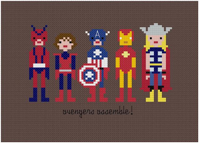 Bordados em ponto cruz: herois Marvel