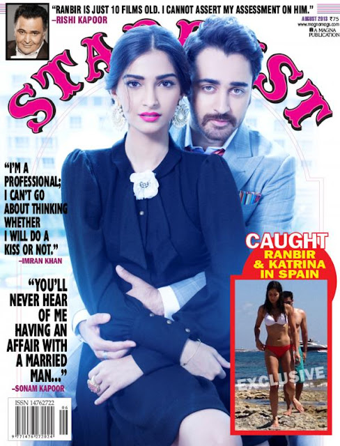 Sonam Kapoor, Imran, Ranbir Kapoor, Katrina kaif in this issue of Stardust