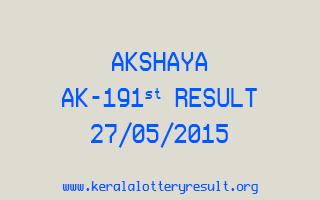 Akshaya AK 191 Lottery Result 27-5-2015