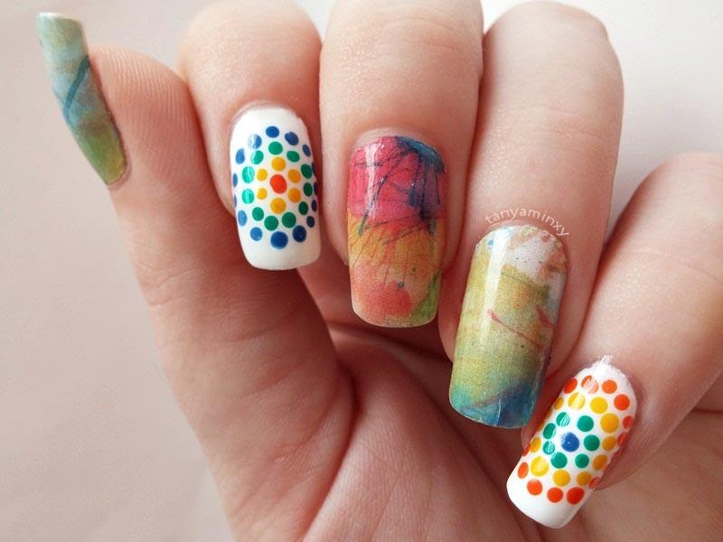 BPS Water Decals And Dots Nails Colorful Nail Art Design Manicure NOTD tanya minxy