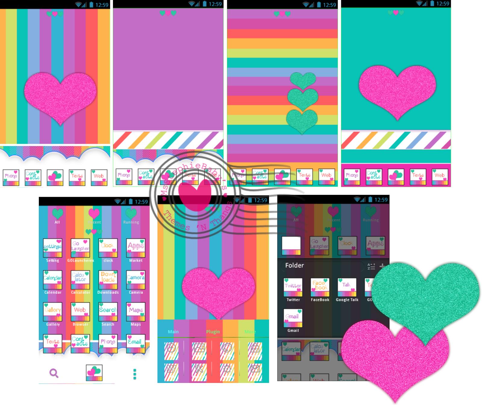 Google themes hearts - Sparkly Hearts Go Launcher Theme