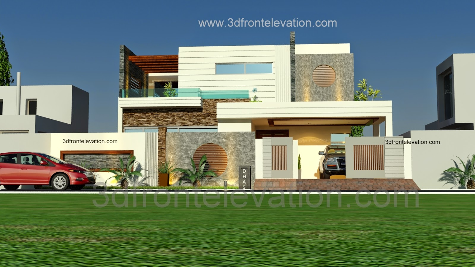 3d front 1 kanal beautiful modern house plan and 3d front elevation dha lahore - D home design front elevation ...