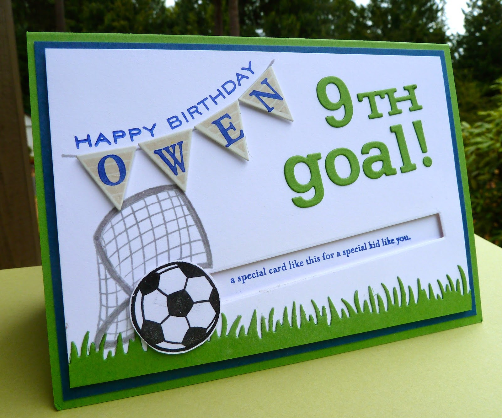 freshwater stamps goal birthday card for soccer fan