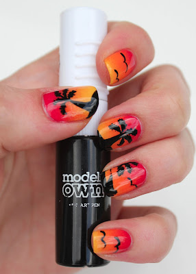 Sunset nail art with Models Own Black Nail Art Pen