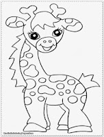 cute baby giraffe jungle animal coloring pages