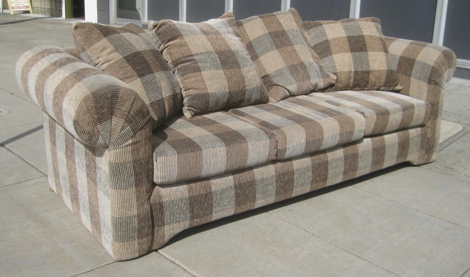 Uhuru Furniture Collectibles Sold Plaid Sofa 100