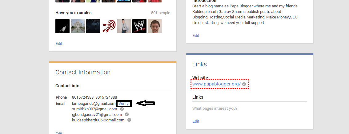 Verify Link in Google Plus official Page