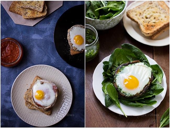 Jajko zapiekane w pieczarce