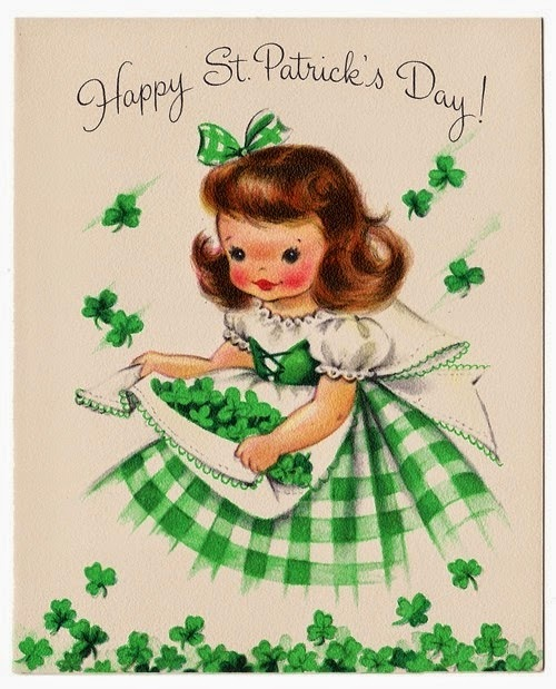 st patrick's day vintage girl' border=