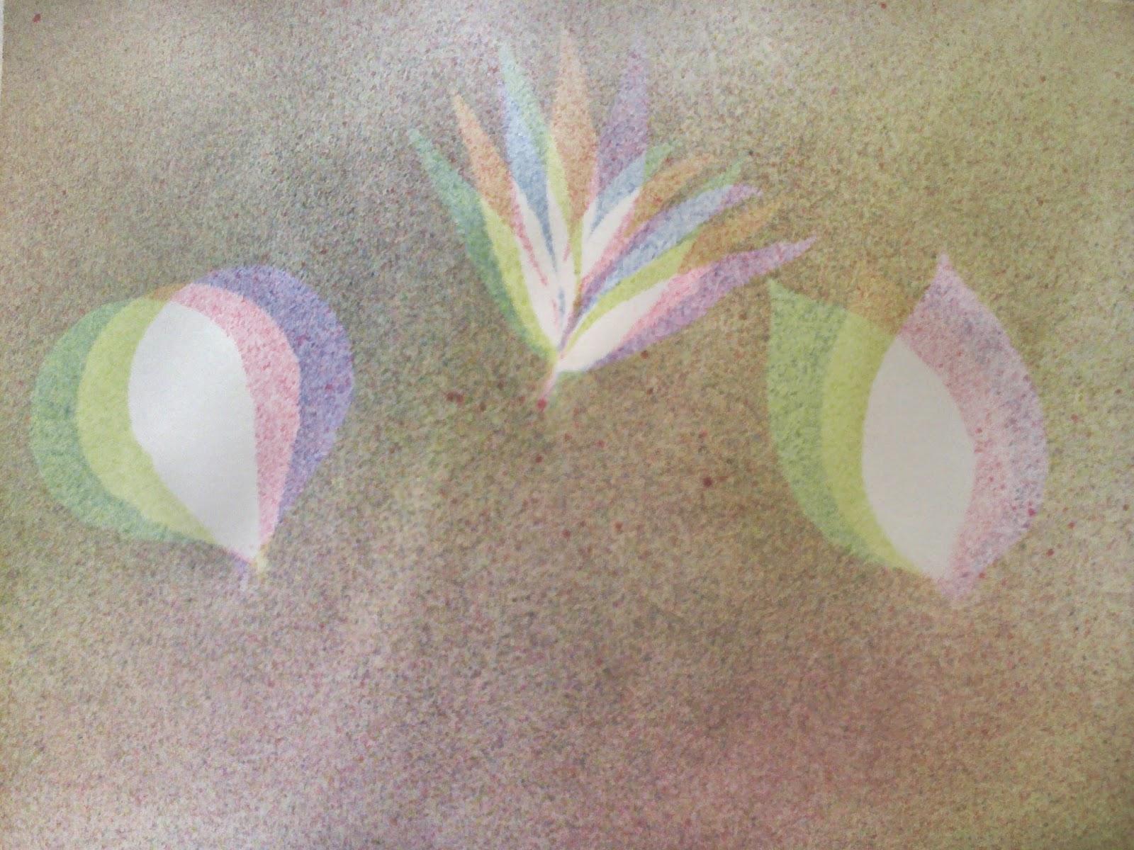 Gambar di atas dapat dibuat dengan cara membuat pola di atas kertas dengan menggunakan beberapa jenis dedaunan Pertama yang harus dilakukan adalah