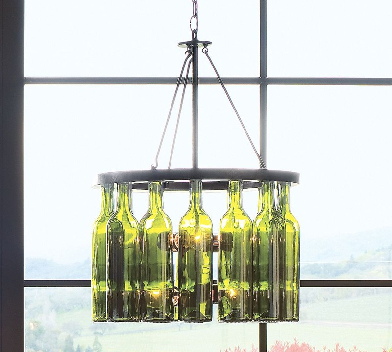 Junk with funk wine bottle chandeliers centerpieces for How to make your own wine bottle chandelier