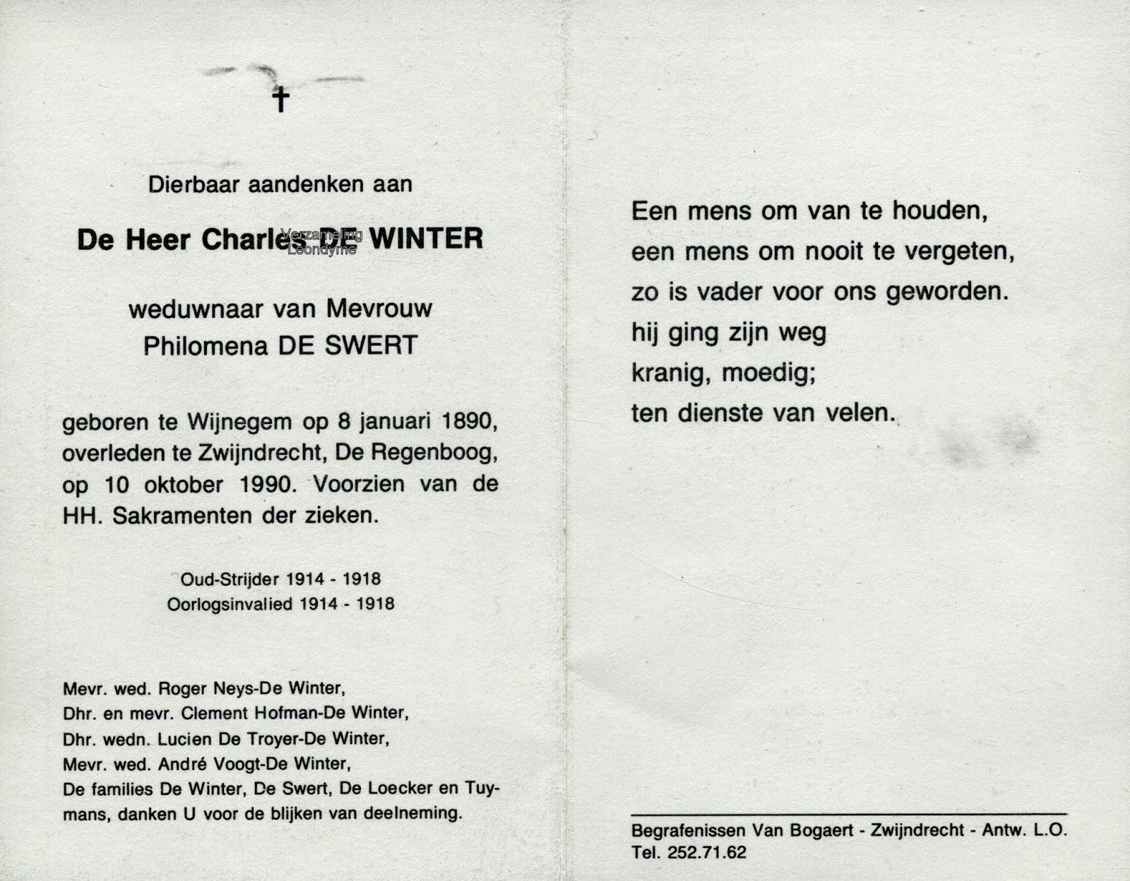 Bidprentje, oud-strijder Charles De Winter 1890-1990. Verzameling Leondyme.