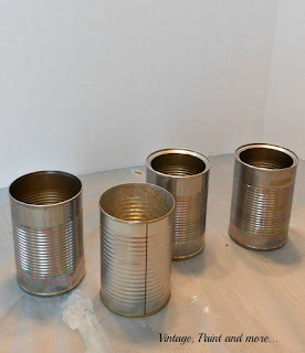 Vintage, Paint and more... tin cans for a desktop organization