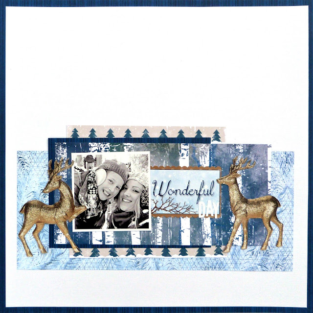 Wonderful scrapbook layout Tracee Provis Bo Bunny Sleigh Ride Snowflake stamp 01