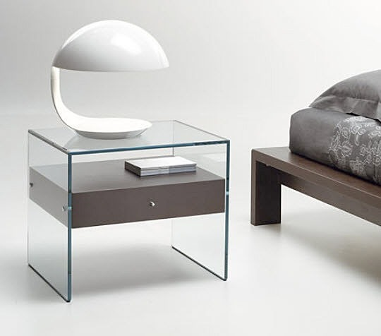 Beautiful persuasion home theater side bed glass table for Bed and side tables