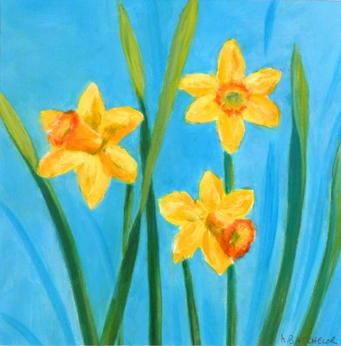 Oil Paintings Of Daffodils In Bud