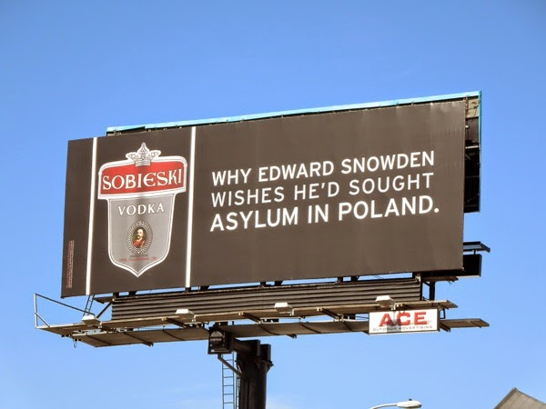 Sobieski Vodka Edward Snowden asylum billboard