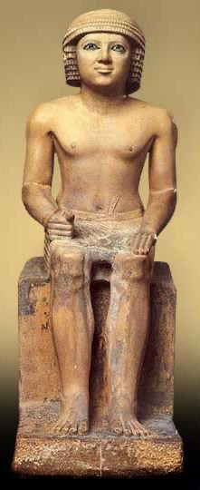 A seated scribe of the early Fifth Dynasty. Pharaonic-monuments.blogspot.com