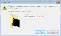 Komunikat o błędzie usuwania pliku lub folderu