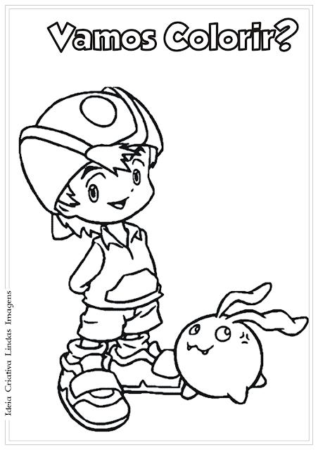 T.K Digimon desenho para colorir