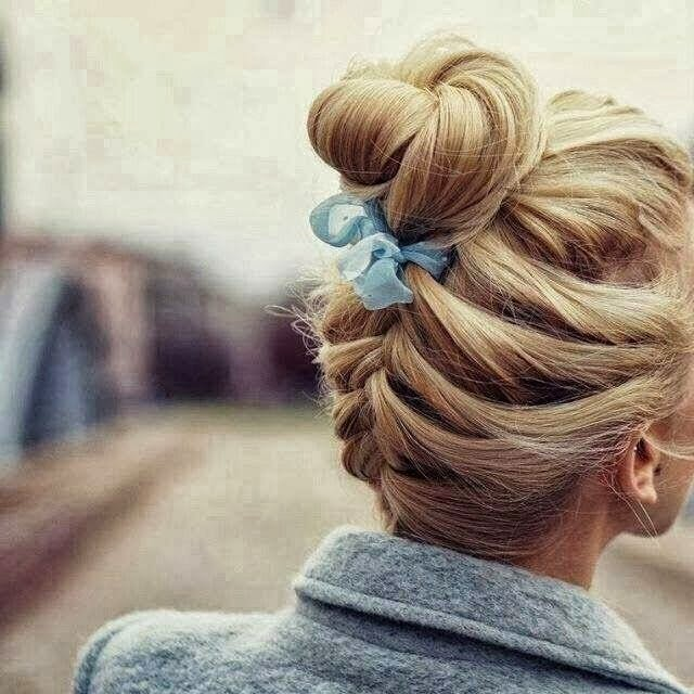 Cute Hairstyle with Braided Bun, Street Style