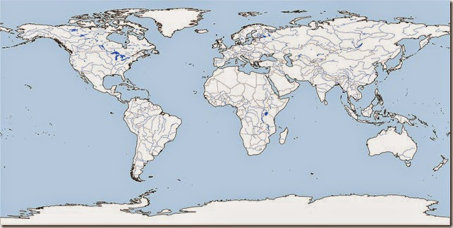 Free printable blank map of the world with land in white and water demarcated in blue.