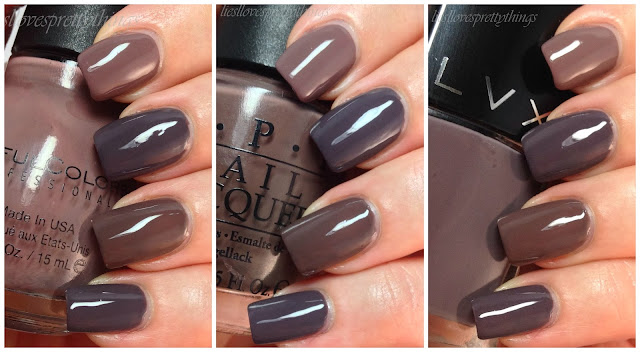 LVX, OPI, Sinful Colors taupe comparison
