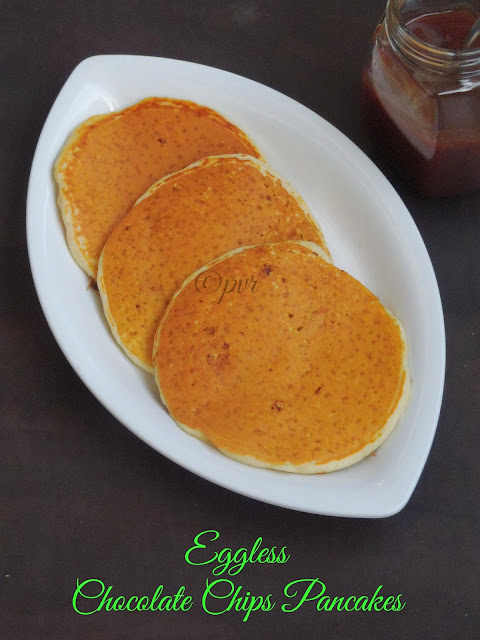 Eggless Chocolate Chips Pancakes