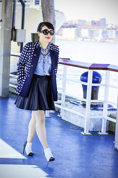 Forever 21 pattern chambray shirt with Topshop faux leather skater skirt