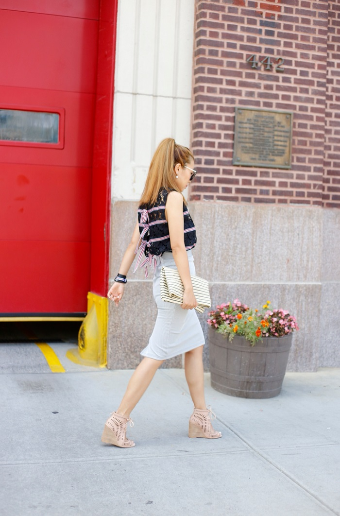 English factory ribbon blouse, topshop pinstripe midi skirt, jeffrey campbell knot wedges, hat attack foldover clutch, hermes bracelet, daniel wellington watches, fashion blog, new york, street style, style blogger, kendra scott ear jackets, kendra scott, mystic bazaar