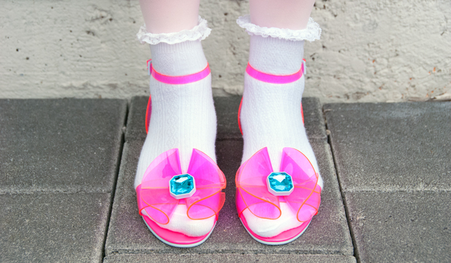 Asos pink sandals, neon pink shoes, sandals with socks