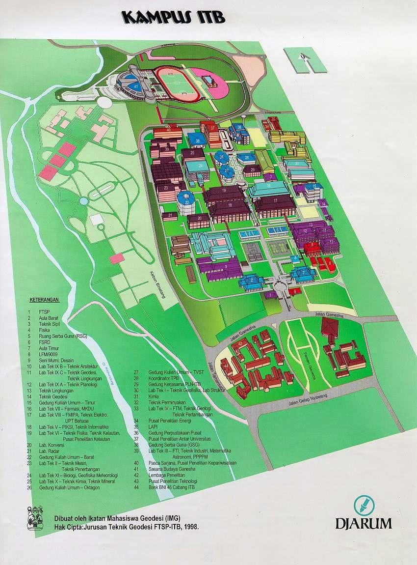 Peta Denah dan maps kampus ITB Tamansari Bandung