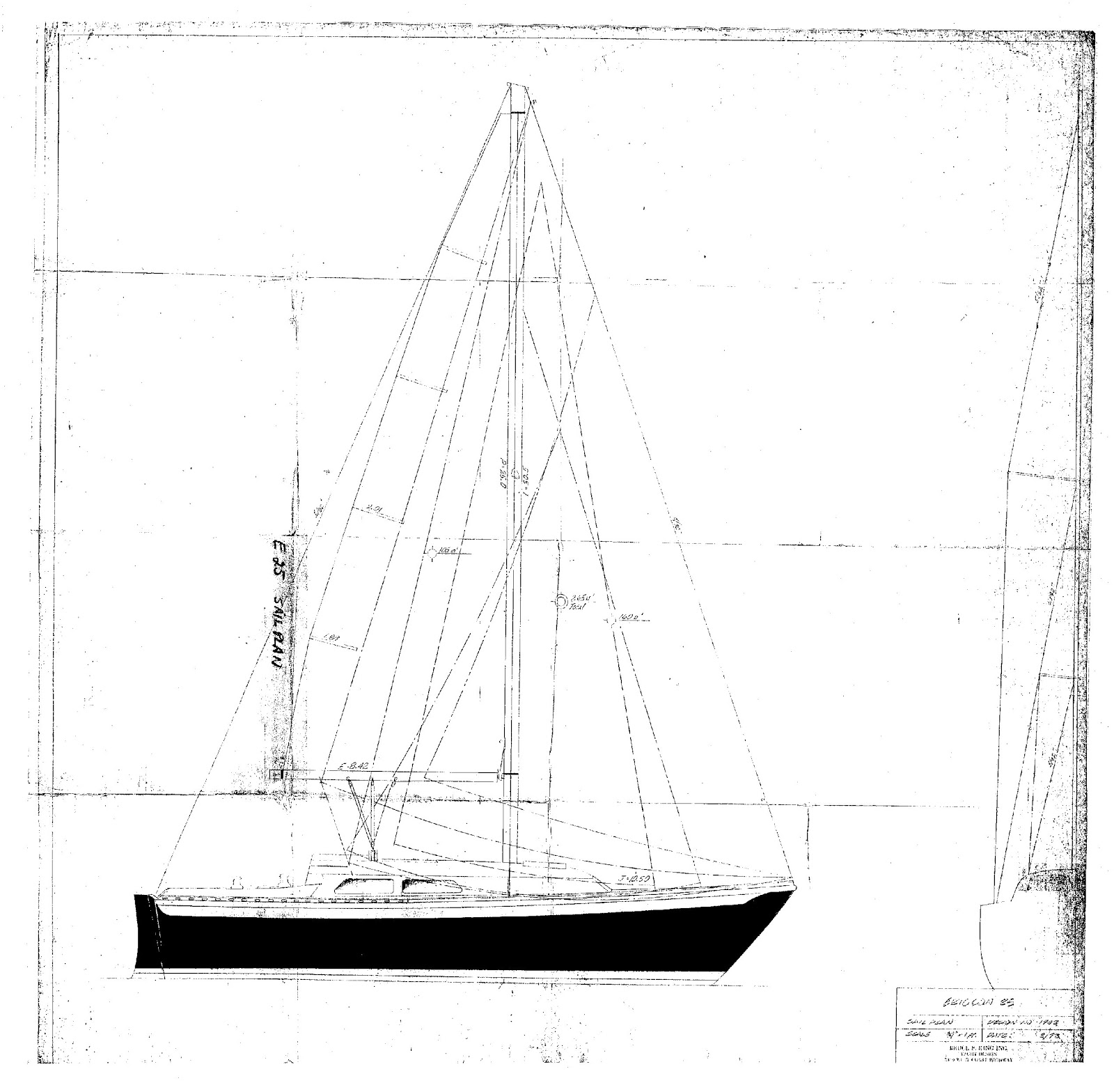 ericson 25  oystercatcher  ericson 25  diagram  sailplan  blueprint  original