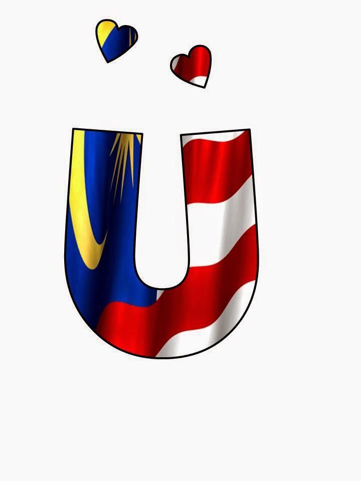 Koleksi Huruf Berlatarbelakang Bendera Malaysia