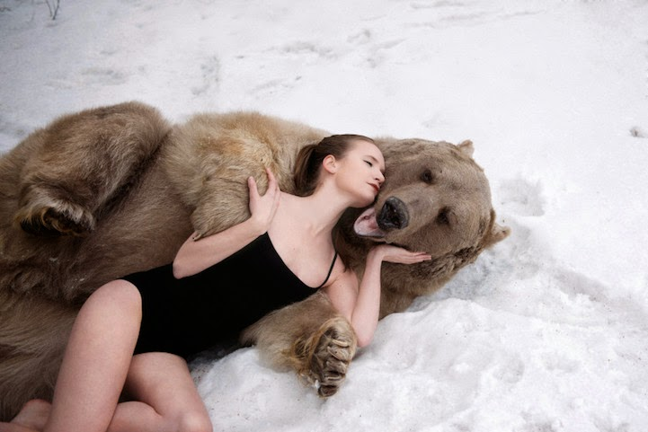 Russian model posing with real bear-1
