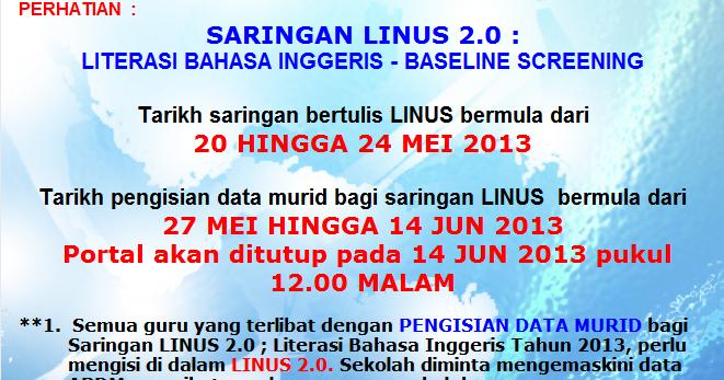Linus Ppd Ranau Makluman Dari Portal Nkra Pelaksanaan Saringan Linus 2 0 Literasi Bahasa Inggeris