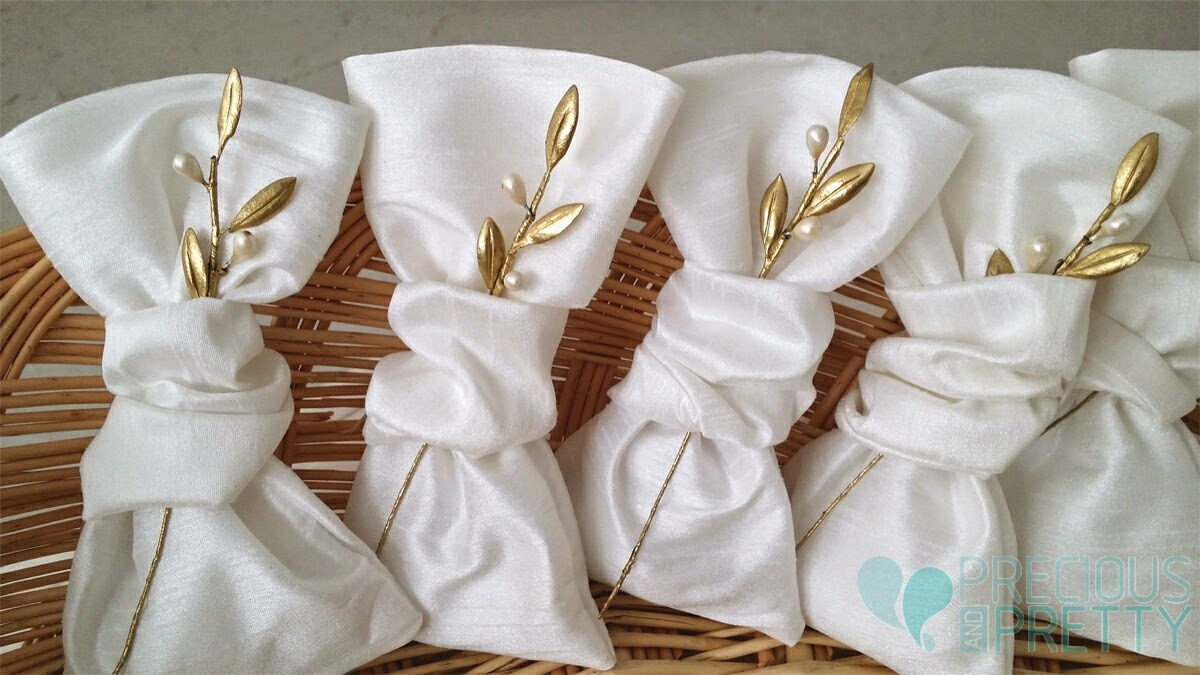 olive leaves pouches favors for wedding