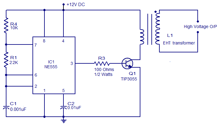 Step Up Circuit Low Voltage To High Voltage - Electronic Projects, IC ...