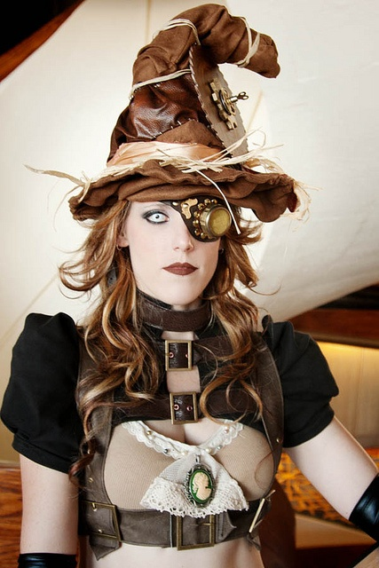 steampunk witch with witches hat harness monocle goggle