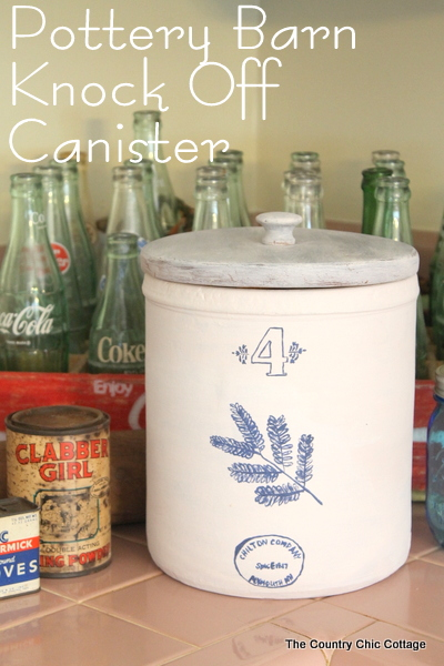 Pottery Barn Knock Off Canister -- paint your own version of a Pottery Barn original in minutes and all for $2 -- this is one thiftstore makeover that you don't want to miss!