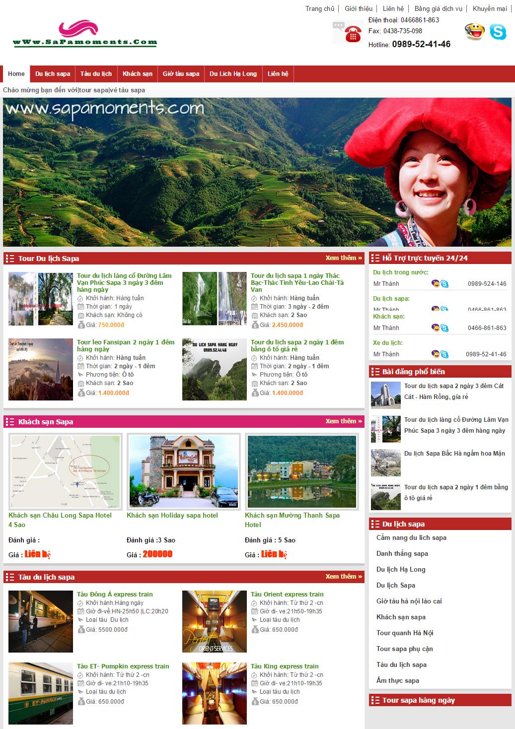 Mẫu du lịch website du lịch - 001